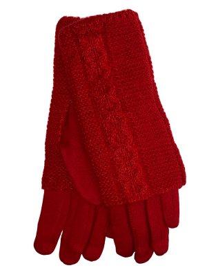 Женские текстильные перчатки с шерстяными митенками, цвет красный