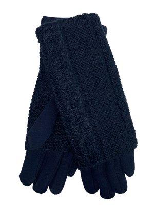 Женские текстильные перчатки с шерстяными митенками, цвет тёмно-синий