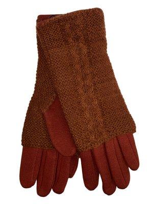 Женские текстильные перчатки с шерстяными митенками, цвет кирпичный