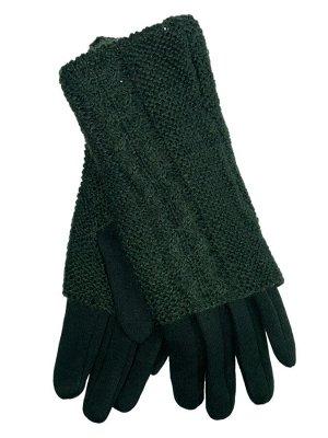 Женские текстильные перчатки с шерстяными митенками, цвет зелёный