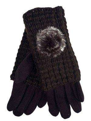 Женские текстильные перчатки с шерстяными митенками, цвет шоколад