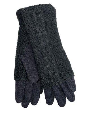 Женские текстильные перчатки с шерстяными митенками, цвет графит