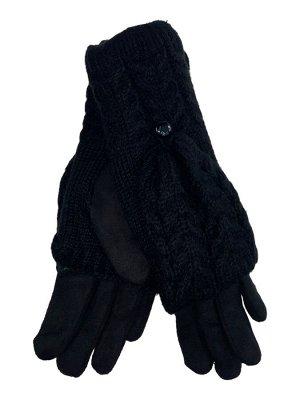 Велюровые перчатки с шерстяными митенками, цвет чёрный