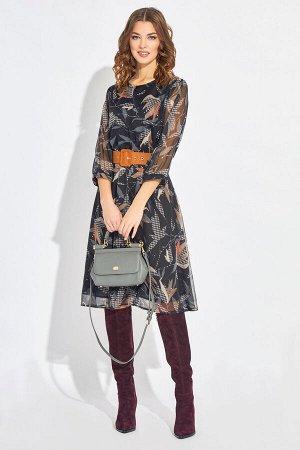 Платье Платье BUTER 2124-1  Состав ткани: ПЭ-100%;  Рост: 170 см.  Платье полуприлегающего силуэта, с втачным рукавом и расклешенным низом. Отрезное по талии на резинке. Рукав внизу на манжете. Плать