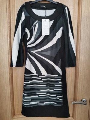 Платье серо-бело-черное