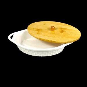 Форма для запекания, с крышкой, фрф, бамбук, 28 х 15,8 х 5,5 см