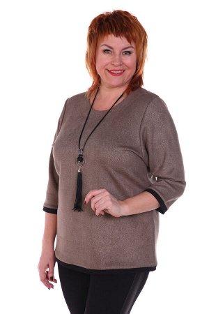 "Баронесса Блуза ""Баронесса"". Трикотаж - Эко замша. Размеры 50 - 64Блуза классического покроя с рукавами 3/4. По низу изделия и низу рукава контрастная отделка."