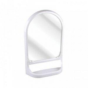 Зеркало Зеркало с полкой БЕЛЫЙ. Зеркало имеет необычную форму - прямоугольную у основания и овальную в верхней части. Конструкция зеркала имеет полку, что позволяет разместить на ней ванные и другие п