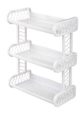 Полка Полка 3-х секц. Такая полка  станет идеальным решением для хранения ванных принадлежностей и аксессуаров в одном месте. Полка изготовлена из качественного полипропилена. Полка легко собирается,