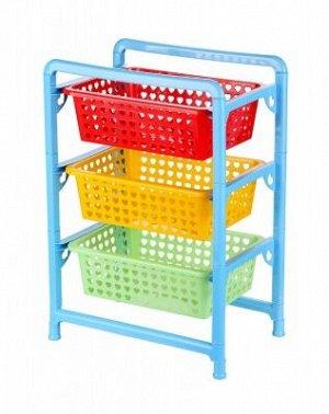 Этажерка Этажерка 3-х секц прямоуг лоток РАЗНОЦВЕТНЫЙ д/игрушек. Этажерка имеет три широких ящика большой вместимости, в которых будет очень удобно хранить канцелярию, одежду, игрушки ребенка и другие