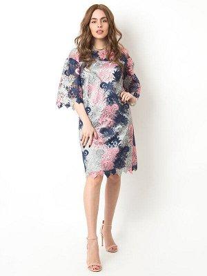 Платье Состав: 42% вискоза, 32% нейлон, 26% хлопок;  Сезон: Осень, Зима, Весна;  Цвет: розовый, синий;   Вечернее платье. На подкладке. Округлый вырез горловины. Без застёжки. Без карманов.