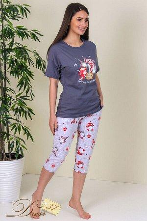 Пижама «Нола» бриджи серая