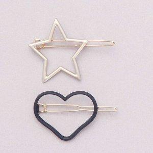 Комплект из 2 заколок — с сердцем и звездой - синий