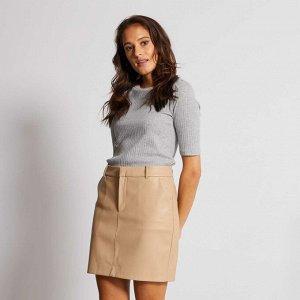 Короткая юбка из экокожи - белый