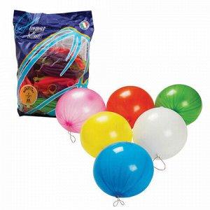 """Шары воздушные 16"""" (41 см), комплект 25 шт., панч-болл (шар-игрушка с резинкой), 12 неоновых цветов, пакет, 1104-0005"""