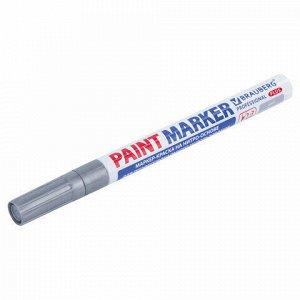 Маркер-краска лаковый (paint marker) 2 мм, СЕРЕБРЯНЫЙ, НИТРО-ОСНОВА, алюминиевый корпус, BRAUBERG PROFESSIONAL PLUS, 151442
