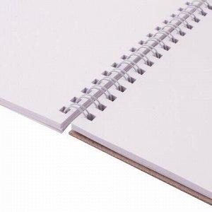 Скетчбук, белая бумага 120г/м2, 205х290мм, 40л, гребень, жёсткая подложка, BRAUBERG ART DEBUT,110984