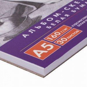 Скетчбук, белая бумага 160г/м2, 145х205мм, 30л, гребень, жёсткая подложка, BRAUBERG ART DEBUT,110989