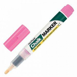 """Маркер меловой MUNHWA """"Chalk Marker"""", 3 мм, РОЗОВЫЙ, сухостираемый, для гладких поверхностей, CM-10"""