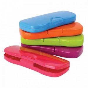 """Пенал-футляр СТАММ """"Intensive"""", пластиковый, непрозрачный, цвет ассорти, ПН62"""