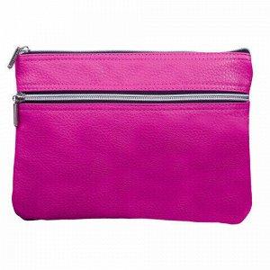 """Пенал-косметичка BRAUBERG под фактурную кожу, розовый, 1 отделение, 2 кармана, """"Монро"""", 24х17 см, 224037"""