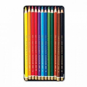 """Карандаши цветные художественные 12 ЦВЕТОВ KOH-I-NOOR """"Polycolor"""", 3,8 мм, металлическая коробка, 3822/12, 3822012002PL"""
