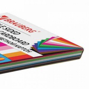 Картон цветной А4 ТОНИРОВАННЫЙ В МАССЕ, 48 листов 12 цветов, склейка, 180 г/м2, BRAUBERG, 210х297 мм, 124744