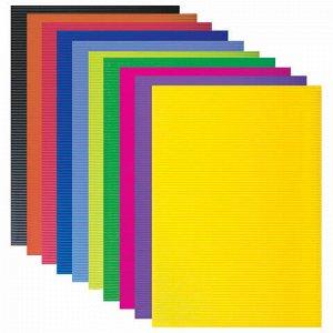 Картон цветной А4 ГОФРИРОВАННЫЙ, 10 листов 10 цветов, 180 г/м2, BRAUBERG, 124749
