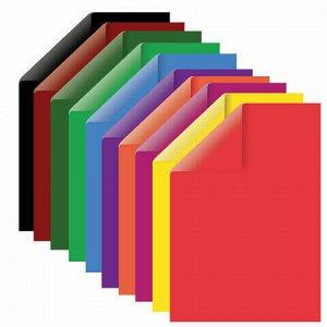 Картон цветной А4 ТОНИРОВАННЫЙ В МАССЕ, 24 листа 12 цветов, 180 г/м2, BRAUBERG, 129309