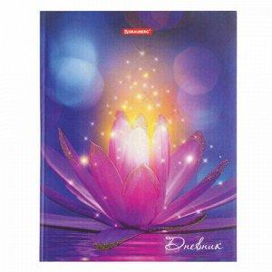"""Дневник 5-11 класс 48 л., твердый, BRAUBERG, блестки, с подсказом, """"Удивительный цветок"""", 105594"""