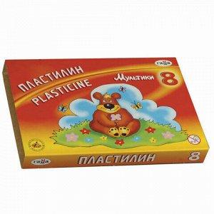 """Пластилин классический ГАММА """"Мультики"""", 8 цветов, 160 г, со стеком, картонная упаковка, 280016/281016, 280016, 281016"""