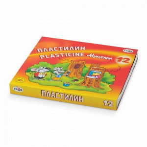 """Пластилин классический ГАММА """"Мультики"""", 12 цветов, 240 г, со стеком, картонная упаковка, 280018/281018, 280018, 281018"""
