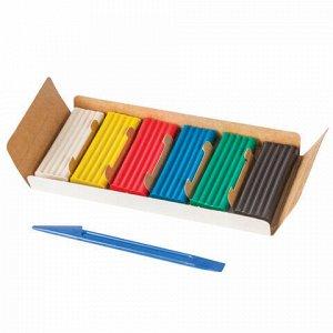 """Пластилин классический ПИФАГОР """"ЭНИКИ-БЕНИКИ"""", 6 цветов, 120 г, со стеком, картонная упаковка, 100970"""