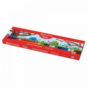 """Пластилин классический BRAUBERG """"МАГИЯ ЦВЕТА"""", 24 цвета, 500 г, ВЫСШЕЕ КАЧЕСТВО, картонная упаковка, 103351"""