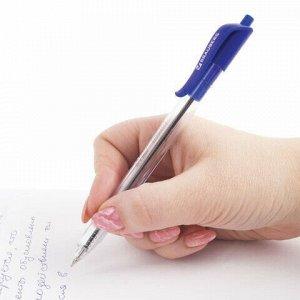 """Ручка шариковая масляная автоматическая BRAUBERG """"Extra Glide R"""", СИНЯЯ, трёхгранный корпус, узел 0,7 мм, линия письма 0,35 мм, 142932"""