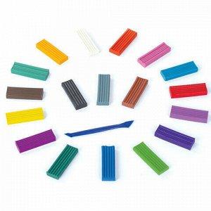 Пластилин классический BRAUBERG, 18 цветов, 360 г, со стеком, высшее качество, картонная упаковка, 103358