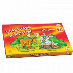 """Пластилин классический ГАММА """"Мультики"""", 16 цветов, 320 г, со стеком, картонная упаковка, 280027/281027, 280027, 281027"""