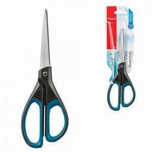 """Ножницы MAPED (Франция) """"Essentials Soft"""", 210 мм, прорезиненные ручки, черно-синие, европодвес, 468310, 469210, 468310"""