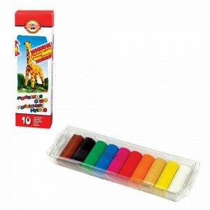 """Пластилин классический KOH-I-NOOR """"Жираф"""", 10 цветов, 200 г, картонная упаковка, 013150400000RU"""