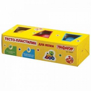 Пластилин на растительной основе (тесто для лепки) ПИФАГОР, 3 цвета, 270 г, картонный рукав, 104437