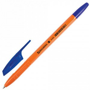 """Ручка шариковая BRAUBERG """"X-333 Orange"""", СИНЯЯ, корпус оранжевый, узел 0,7 мм, линия письма 0,35 мм, 142409"""