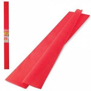 Бумага гофрированная (креповая) ПЛОТНАЯ, 32 г/м2, красная, 50х250 см, в рулоне, BRAUBERG, 126531