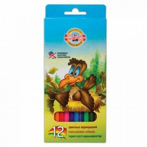 """Карандаши цветные KOH-I-NOOR """"Birds"""",12 цветов, грифель 2,8 мм, заточенные, европодвес, 3552012002KSRV"""
