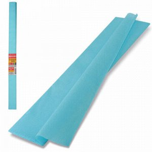 Бумага гофрированная (креповая) ПЛОТНАЯ, 32 г/м2, голубая, 50х250 см, в рулоне, BRAUBERG, 126534