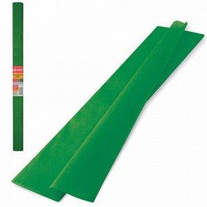 Бумага гофрированная (креповая) ПЛОТНАЯ, 32 г/м2, темно-зеленая, 50х250 см, в рулоне, BRAUBERG, 126537