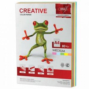 Бумага цветная CREATIVE color, А4, 80 г/м2, 250 л., (5 цветов х 50 л.), микс медиум, БОpr-250r