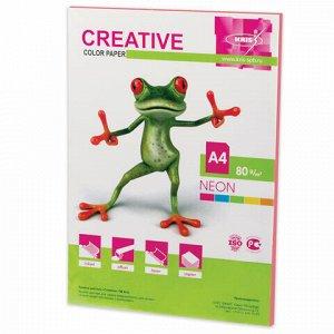 Бумага цветная CREATIVE color, А4, 80 г/м2, 50 л., неон, розовая, БНpr-50р