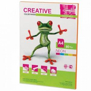 Бумага цветная CREATIVE color (Креатив) А4, 80 г/м2, 50 л., неон, оранжевая, БНpr-50ор