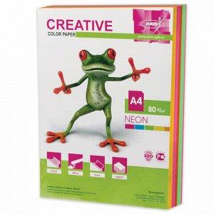 Бумага цветная CREATIVE color, А4, 80 г/м2, 250 л., (5 цветов х 50 листов) микс неон, БНpr-250r