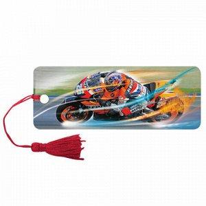 """Закладка для книг 3D, BRAUBERG, объемная, """"Мотогонки"""", с декоративным шнурком-завязкой, 125769"""